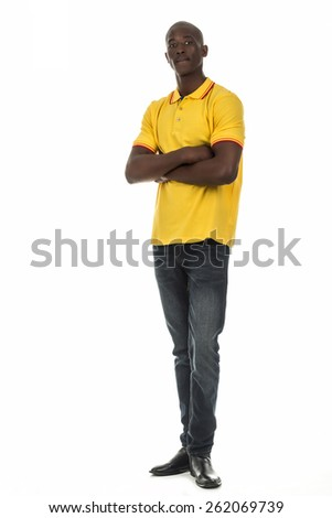 Attractive african american black man in plain short sleeve collar shirt on isolated white studio background - stock photo