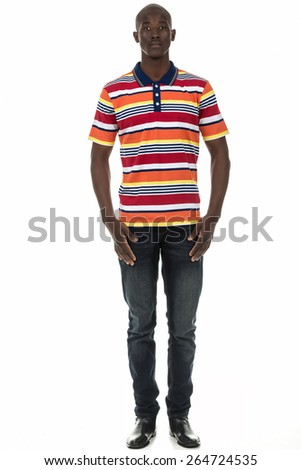 Attractive african american black man in stripped short sleeve collar shirt on isolated white studio background - stock photo