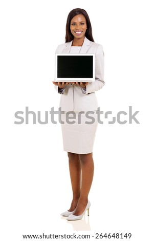 attractive african american businesswoman presenting laptop - stock photo
