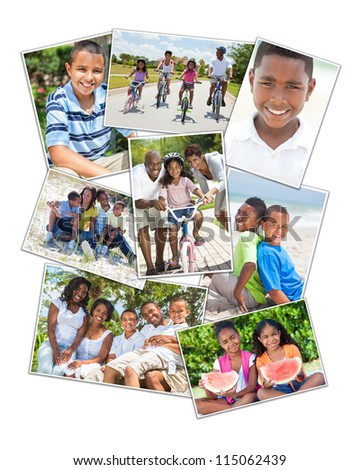 Attractive African American families mothers, fathers, sons, daughters, outside having fun in the summer sunshine, smiling, laughing, happy, cycling - stock photo