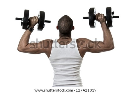 Attractive african american hispanic mix man exercising - stock photo