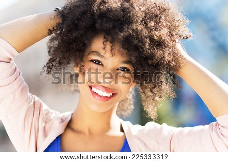 Attractive African American woman  - stock photo