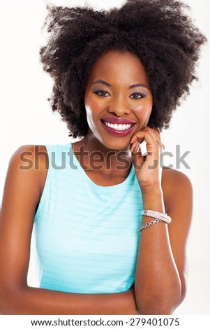 attractive african american woman closeup portrait in studio - stock photo