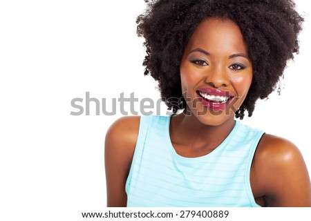 attractive african american woman closeup portrait with toothy smile - stock photo