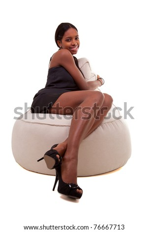 attractive  african american woman smiling, isolated on white background - stock photo