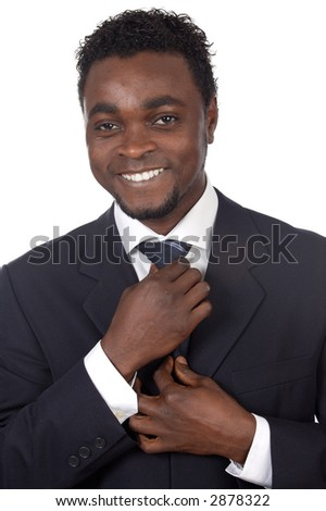 attractive african businessman a over white background