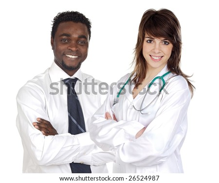 Attractive african businessman and pretty doctor girl isolated over white