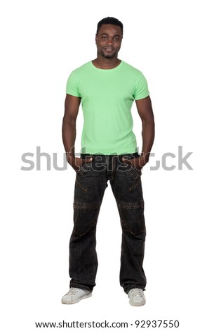 Attractive african man isolated on a over white background - stock photo