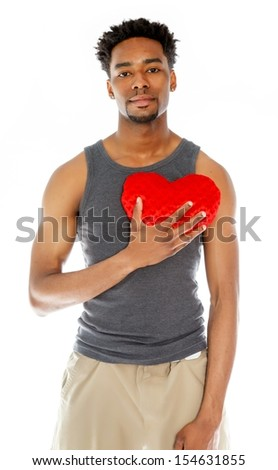 Attractive afro-american man posing in a  studio isolated on a background