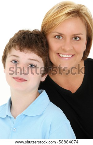 Attractive American mother and son portrait over white background.