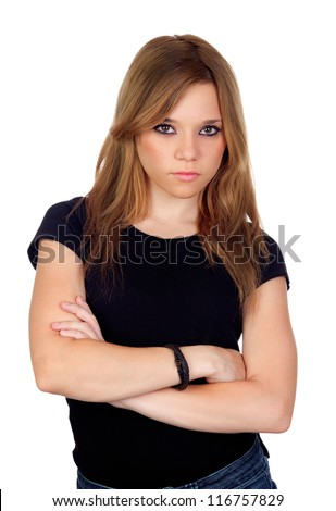 Attractive angry woman with black shirt isolated on white background - stock photo