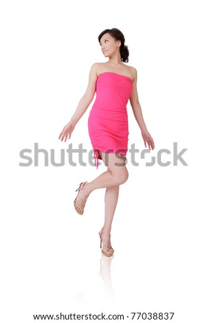 Attractive Asian beauty, full length portrait isolated on white background. - stock photo