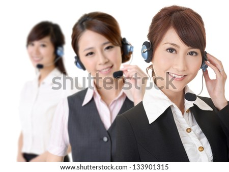 Attractive Asian business secretary team with smiling face, closeup portrait. - stock photo