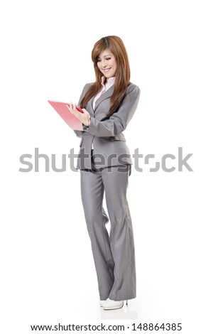 Attractive Asian business woman, full length portrait isolated on white background.