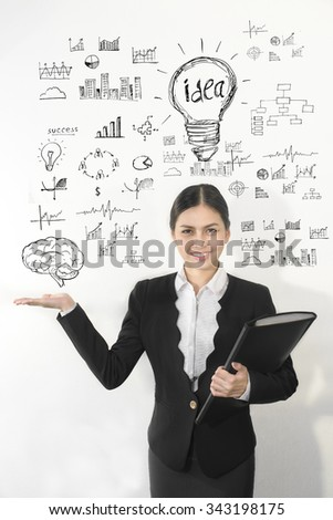 Attractive asian business women with creative idea