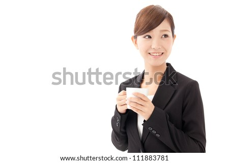 attractive asian businesswoman drinking coffee on white background