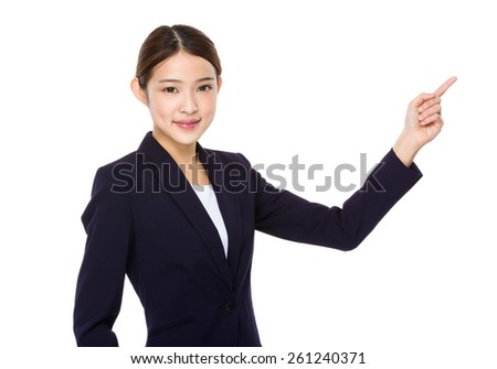 Attractive asian businesswoman showing on white background - stock photo