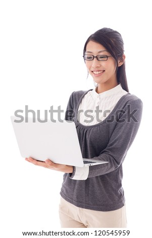 attractive asian businesswoman working on white background - stock photo