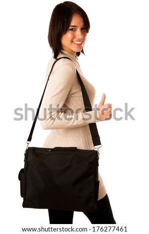 Attractive asian caucasian woman student  with briefcase showing thumb up isolated over white background