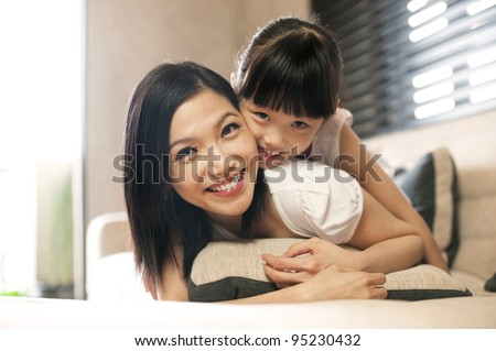 Attractive Asian Family - stock photo