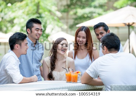 Attractive Asian Friends Outdoor Lifestyle