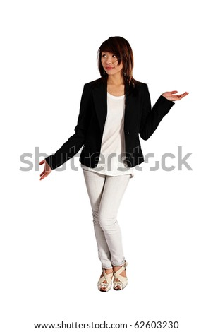 attractive Asian girl against white with arms up - stock photo