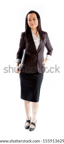 Attractive asian girl in her 30s shot in studio isolated on a white background - stock photo