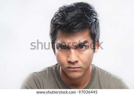 Attractive asian man portrait with expressions - stock photo