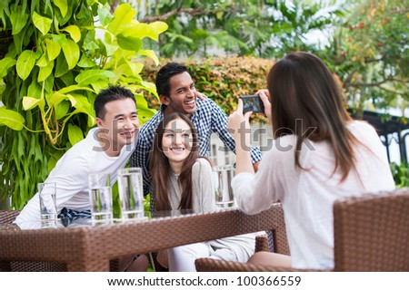 Attractive Asian Outdoor - stock photo