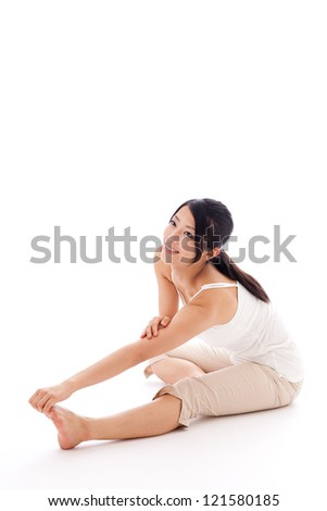 attractive asian woman exercising on white background - stock photo