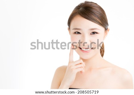attractive asian woman skin care image on white background - stock photo