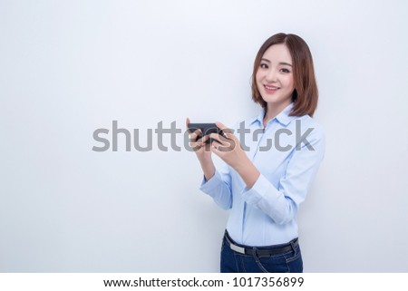 attractive asian woman using smart phone isolated on white background