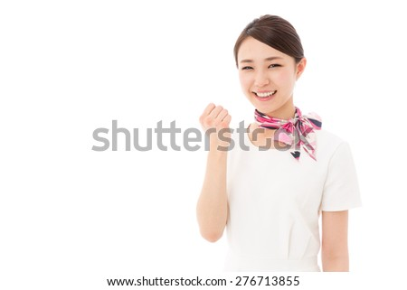 attractive asian woman wearing white closes isolated on white background - stock photo