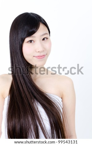 attractive asian woman with beautiful straight black hair - stock photo