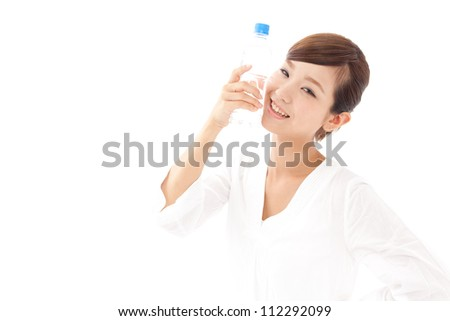 attractive asian woman with pure water on white background