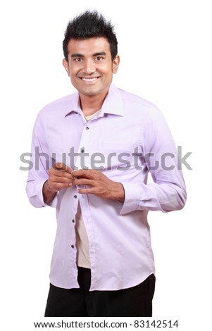 attractive asian young man wearing cloth isolated on white - stock photo
