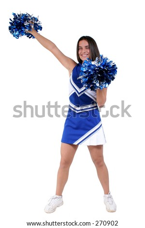 Attractive athletic cheerleader in uniform with pompoms over white. - stock photo