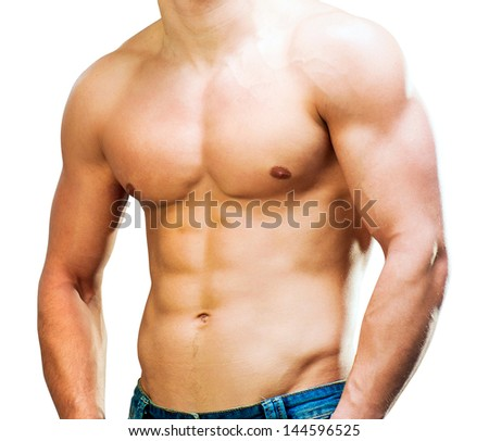 attractive athletic man torso on a white background - stock photo