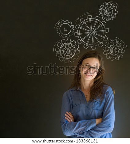 Attractive beautiful business woman, student or teacher thinking with turning gear cogs or gears