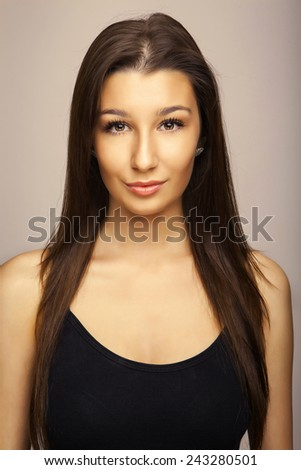 attractive beautiful portrait girl with full lips and long hair - stock photo