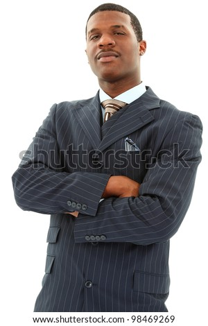 Attractive Black Male In A Pinstripe Suite With His Arms Crossed Over White Background - stock photo