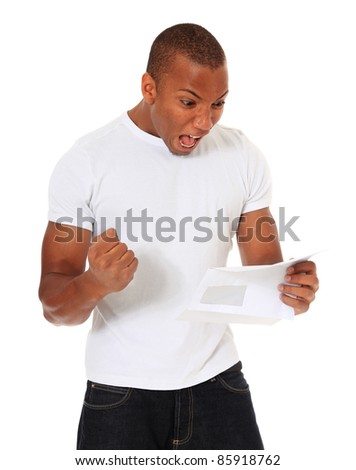 Attractive black man getting good news. All on white background. - stock photo