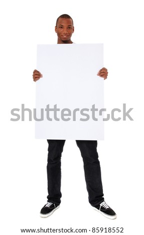 Attractive black man holding blank white sign. All on white background. - stock photo