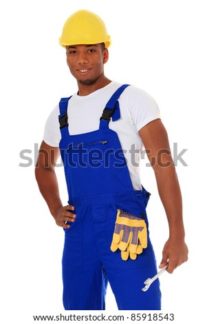 Attractive black manual worker. All on white background. - stock photo