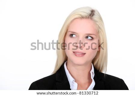 Attractive, blond businesswoman - stock photo