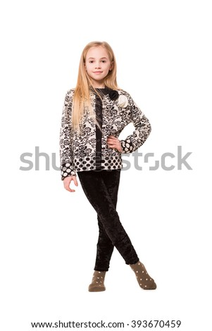 Attractive blond girl posing in casual clothes. Isolated on white - stock photo
