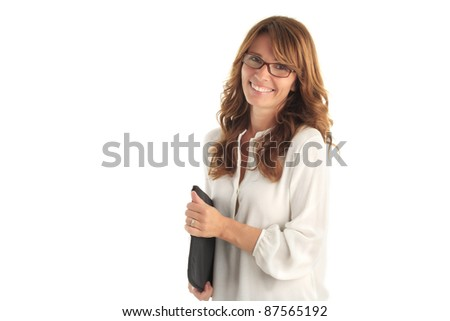 Attractive blond mature business woman against white background with copy space - stock photo