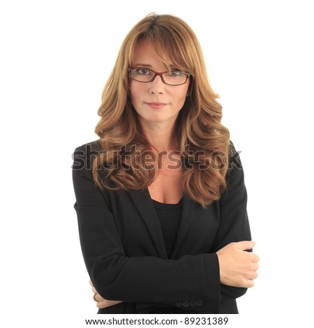 Attractive blond mature business woman against white background with copy space