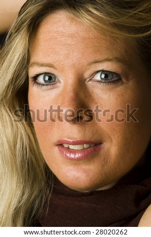attractive blond middle age woman female pretty beautiful head shot smiling happy - stock photo