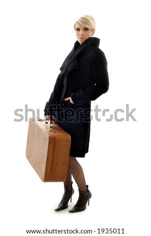 attractive blond with brown suitcase